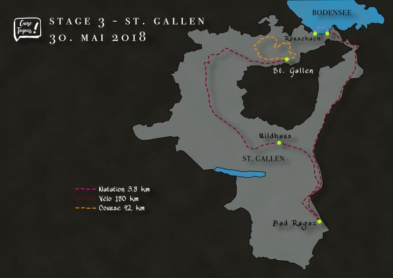 Parcours de l'étape de St. Gallen du Dimitriathlon de l'association Cause Toujours !