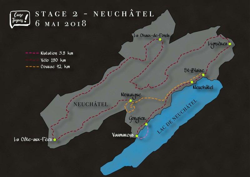 Parcours de l'étape de Neuchâtel du Dimitriathlon de l'association Cause Toujours !